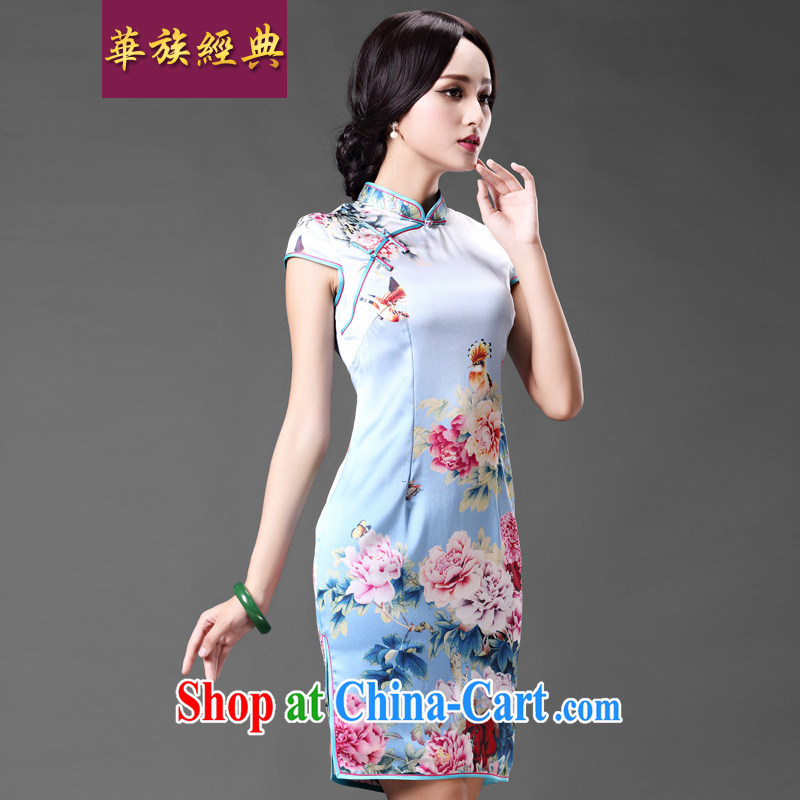 China classic silk sauna Silk Cheongsam literary and artistic temperament improved retro-day stylish short cheongsam Ms. dress suit XXL