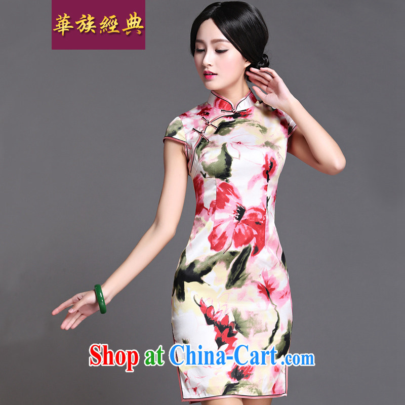 Chinese ethnic classic retro improved silk spring and summer dresses, dresses high quality Chinese banquet annual aura dress suit XXXL