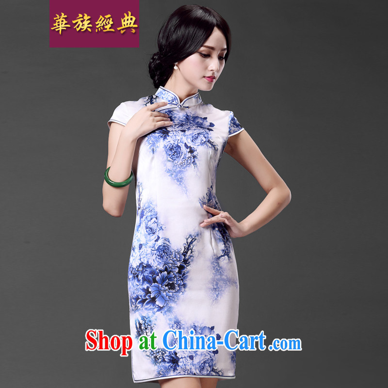 China classic improved quality heavy Silk Cheongsam Ms. sauna silk short-sleeved dresses beauty Art Nouveau floral M