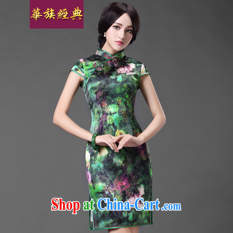 China classic spring and summer stylish everyday, heavy silk sauna Silk Cheongsam dress improved retro short green XXL