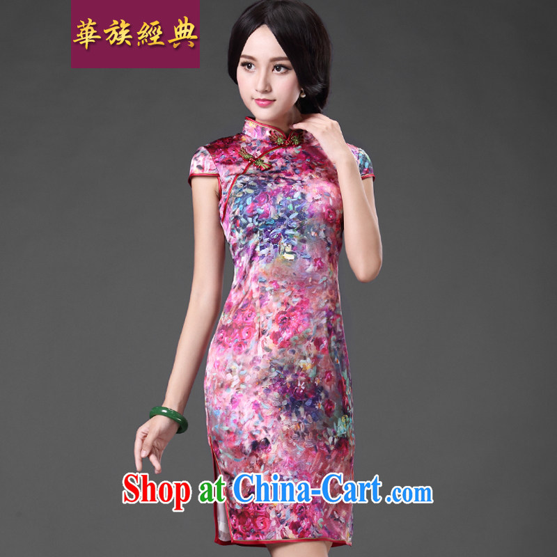 China classic heavy silk silk dos santos Ms. day aura cheongsam dress improved retro short, elegant floral XL