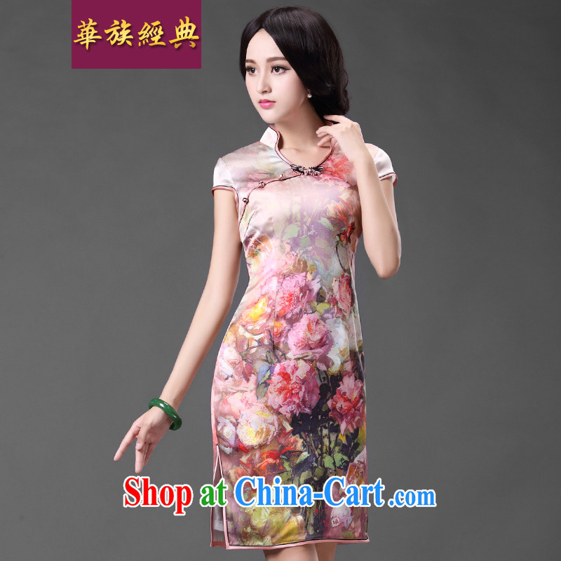 China classic 2015 spring and summer improved short sauna beauty Silk Cheongsam dress style retro heavy Silk Cheongsam floral S