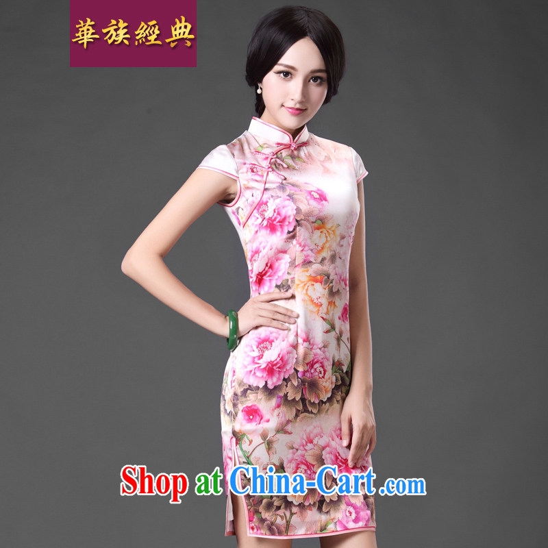 China classic 2015 spring and summer Chinese daily heavy silk sauna Silk Cheongsam dress style beauty, floral XL