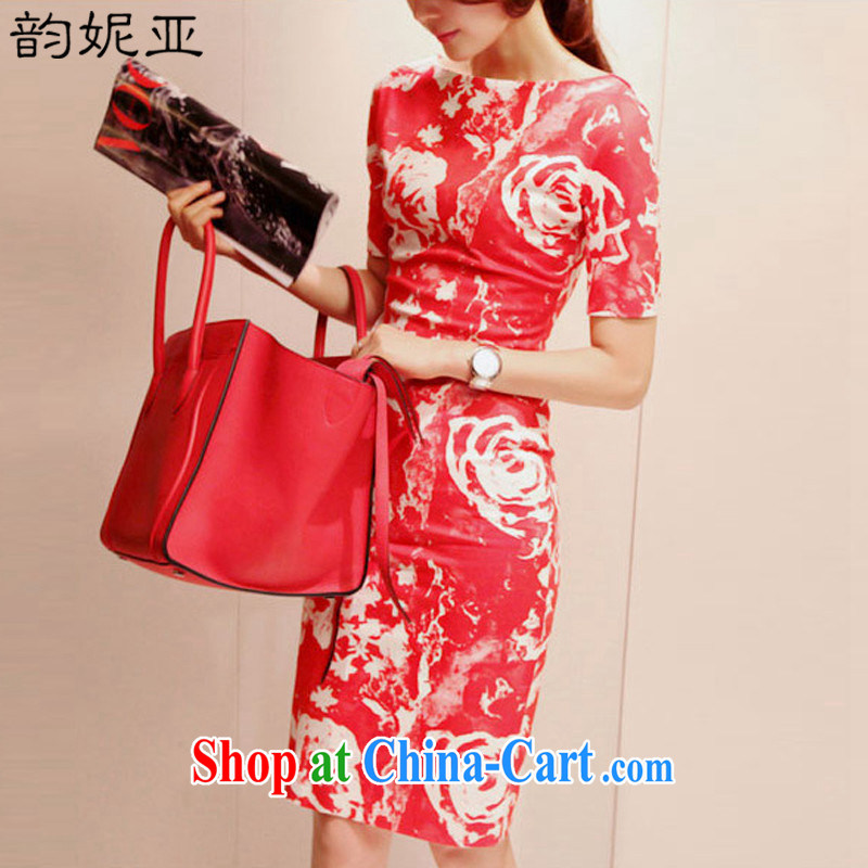 The Connie's 2015 summer new Korean package and long skirt high waist graphics thin dresses sweet stamp beauty style cheongsam 7728 red S