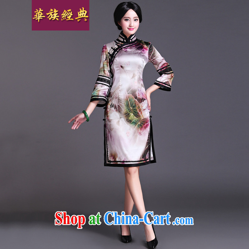 2015 new spring and summer heavy silk dos santos Ms. Silk Cheongsam dress improved stylish retro style beauty Lin heart XXL