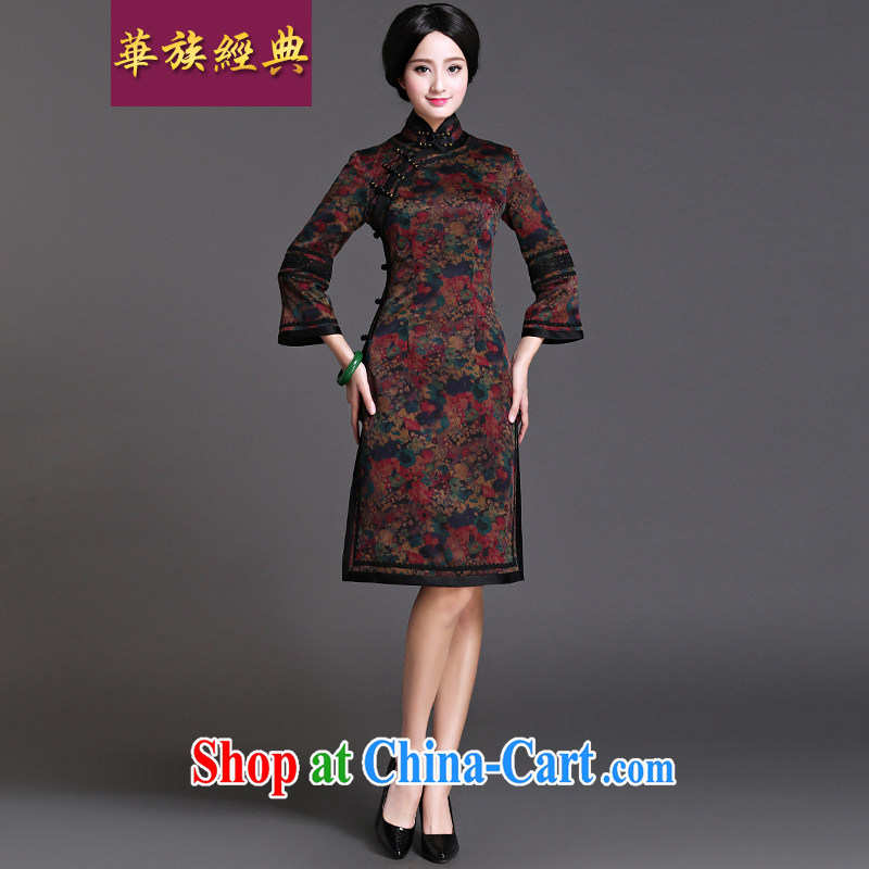 2015 spring new classic traditional silk fragrant cloud yarn long-sleeved open flap cheongsam dress Chinese Antique improvements in interval XXL