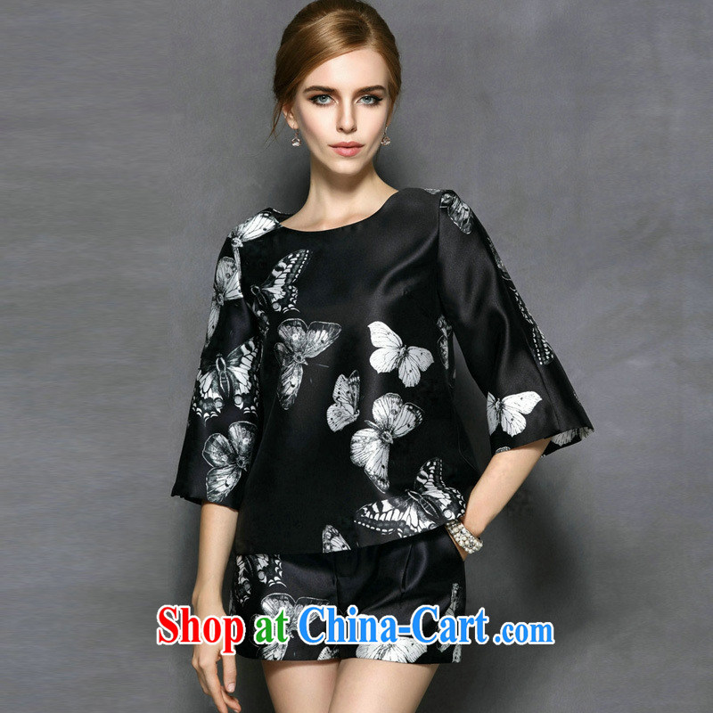 Ya-ting the European site spring 2015 Women New American and European brands two kits with autumn dresses L 9131 black XL