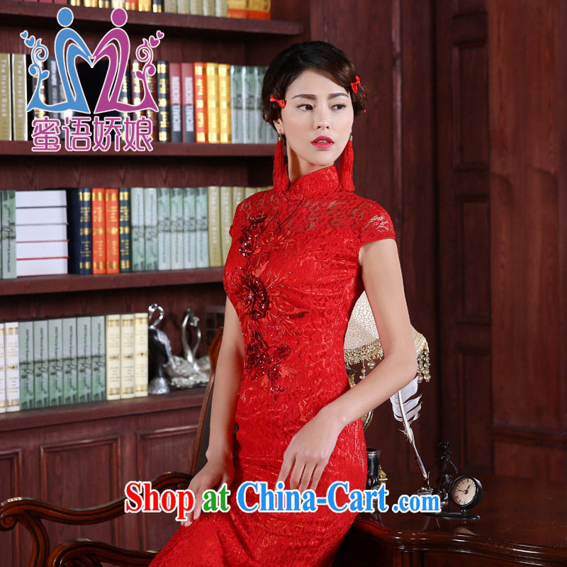 Honey, bride bridal gown dresses bows service 2015 new retro package shoulder-length, crowsfoot improved the code cheongsam dress Red Red XXXL