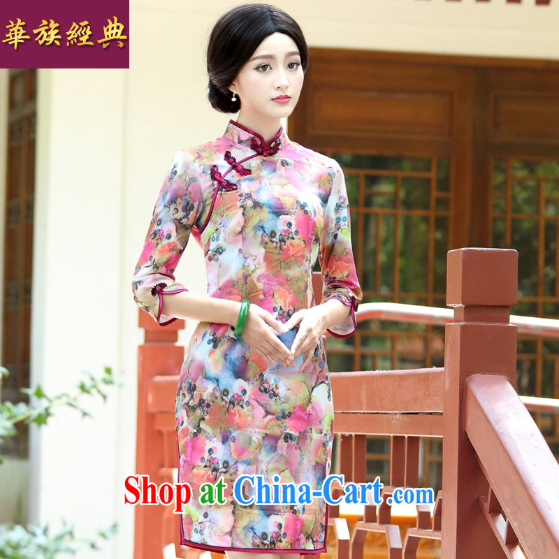 China classic 2015 new, improved daily, 7 cuff cheongsam dress Chinese Antique style spring red XXL