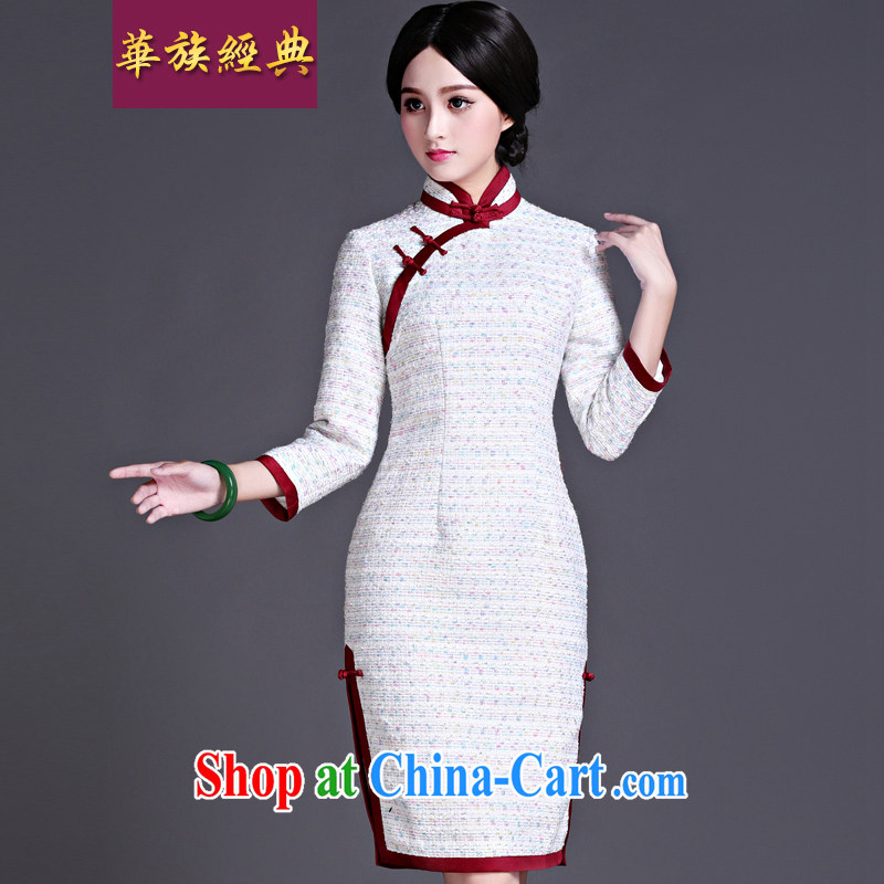 China classic improvement of Korea Daily 7 cuff cuff in cheongsam dress new retro 2015 winter clothing style floral XXL