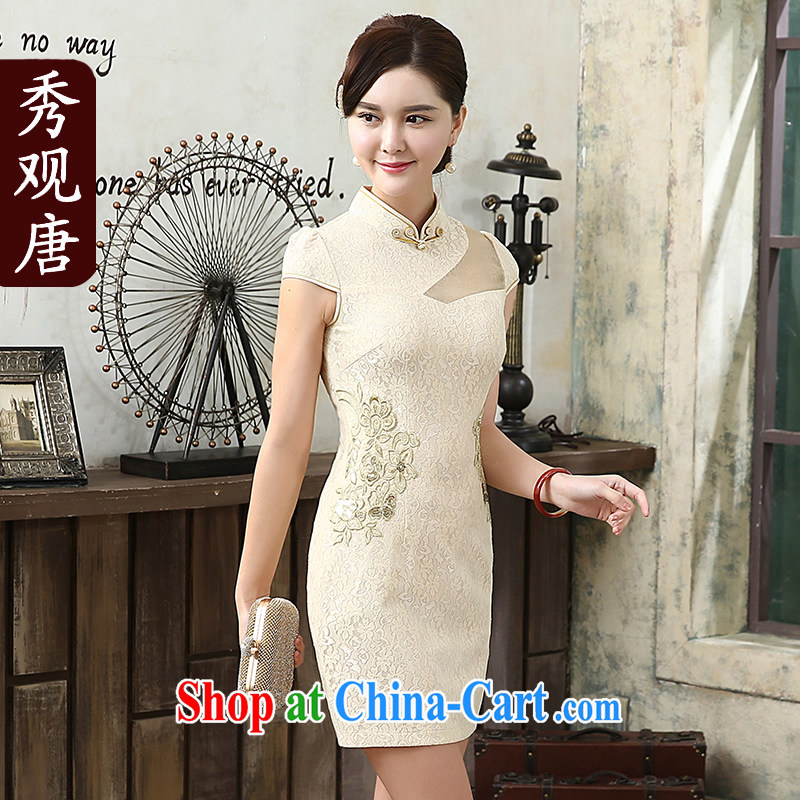 The CYD HO Kwun Tong' the colorful 2015 stylish improved cheongsam summer style new cheongsam dress daily sexy retro dresses apricot M