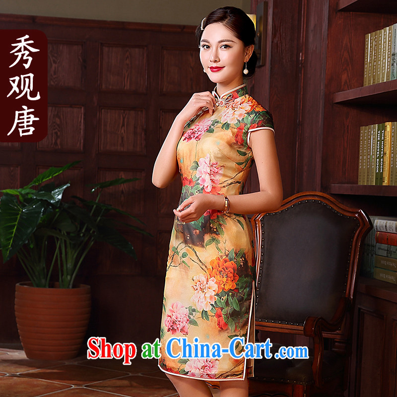The CYD HO Kwun Tong' Peony, 2015 spring and summer New Silk Dresses, long, retro style sexy dresses QD 5135 fancy XL