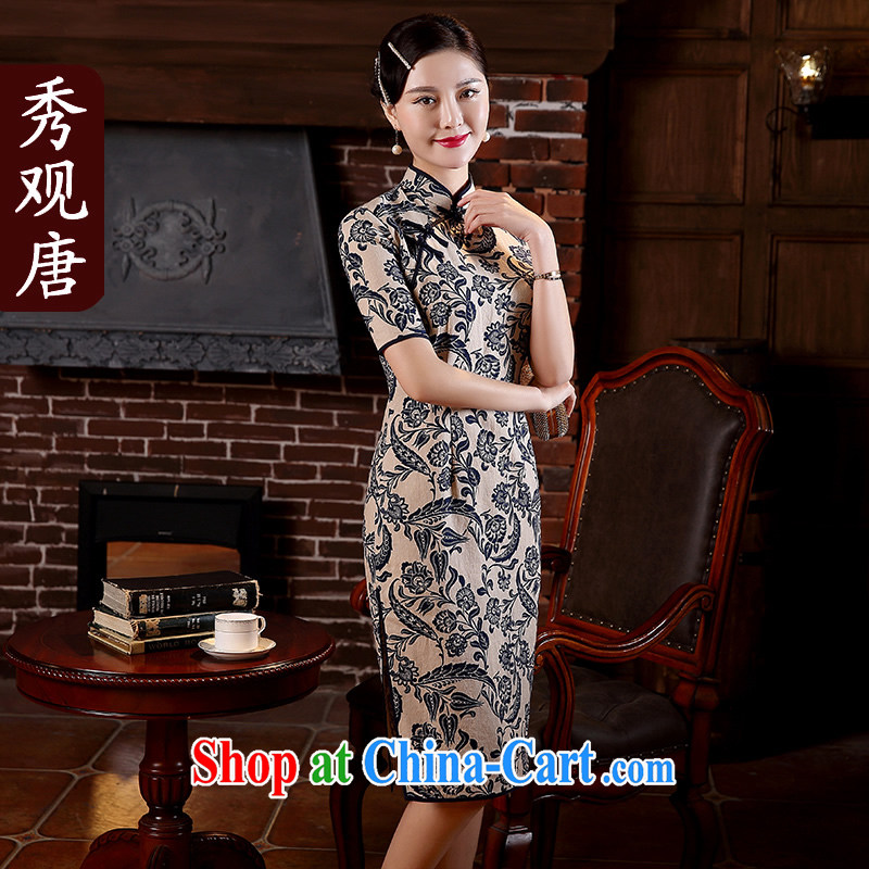 The CYD HO Kwun Tong' of Mr NGAN Kam-chuen 2015 spring and summer with the Commission the cheongsam retro stamp improved fashion cuff dress QD 5108 blue-and-white M