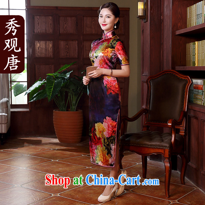 The CYD HO Kwun Tong' purple color Shanghai Silk King style high-end dresses sauna silk, long, the forklift truck QD Dress Suit 5119 XL
