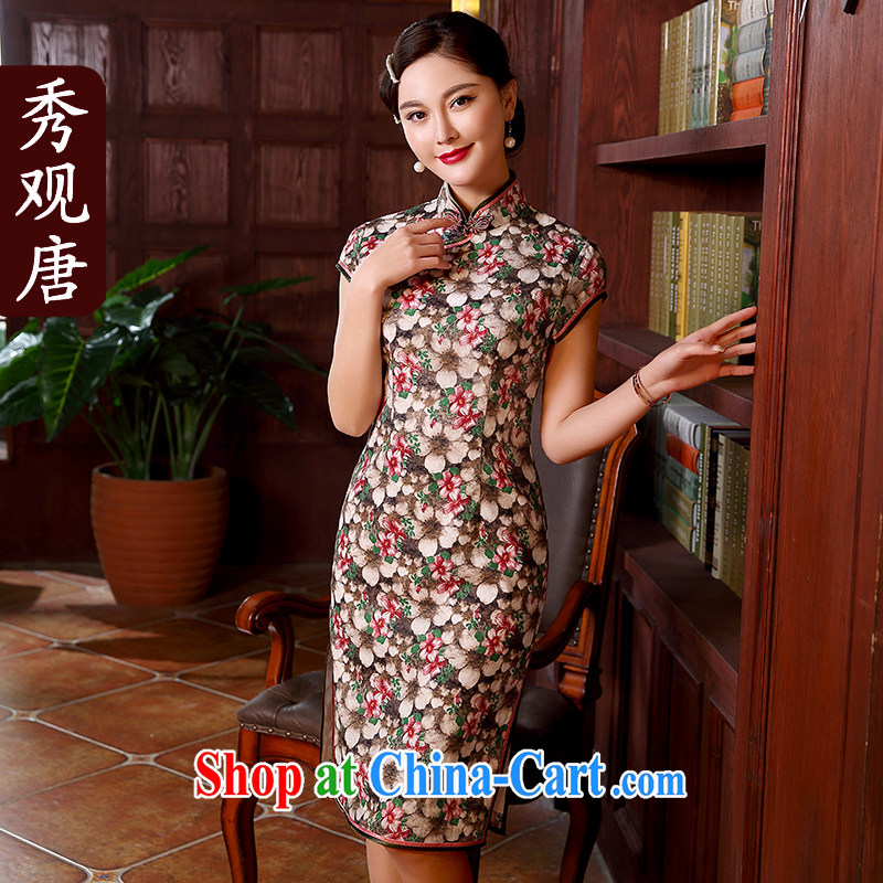 The CYD HO Kwun Tong' to ensure a high-end cotton robes the commission 2015 spring and summer New floral retro style beauty dresses QD 5136 fancy M