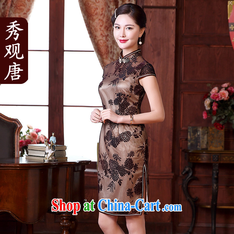 The CYD HO Kwun Tong' Lok Yuk 2015 spring and summer with new, improved stylish beauty dresses style retro dresses QD 5115 apricot XXL