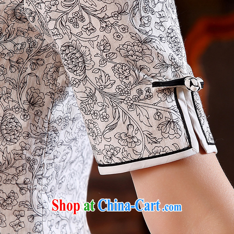 The CYD HO Kwun Tong' mini-yee quality cotton in Yau Ma Tei outfit cuff 2015 improved Stylish spring and summer New Style cheongsam dress QD 5107 M suit, Sau looked Tang, shopping on the Internet