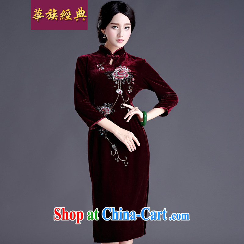 China classic 2015 spring new Chinese improved retro cuff in manually staple Pearl velvet cheongsam dress female Uhlans on XL