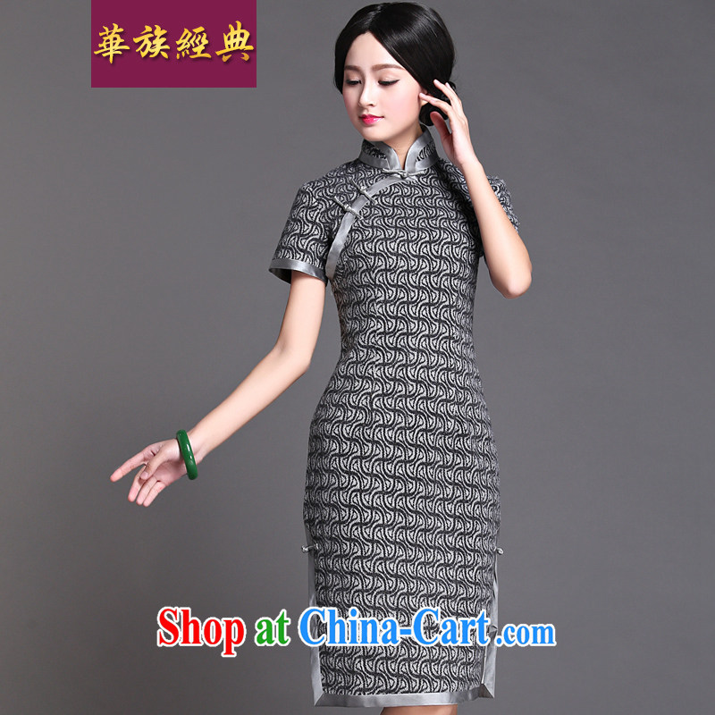 China classic 2015 spring New Republic Day Ms. cheongsam dress improved retro art, cultivating gray XXXL