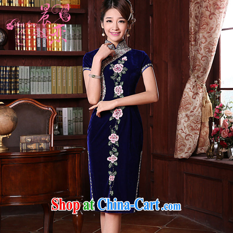 Early Morning, spring 2015 new stylish and refined antique cuff in luxury manually staple Pearl velvet cheongsam dress blue short-sleeved short XXL