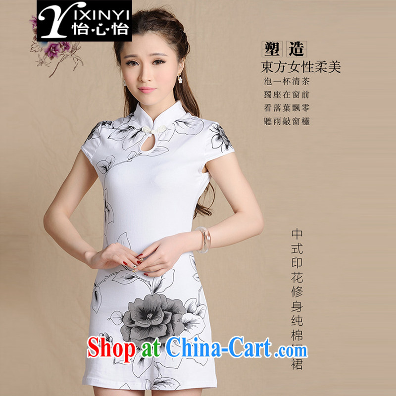 Yi Hsin Yi 2015 summer new Ethnic Wind painting replica beauty dresses female white M