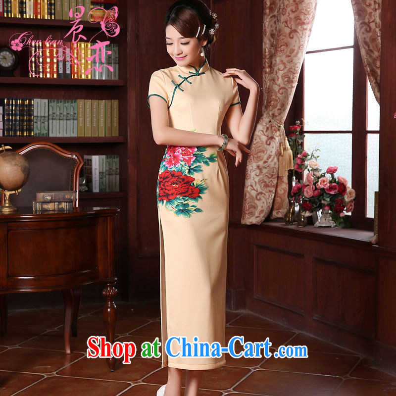 Morning, dresses new 2015 spring retro long improved stylish Chinese qipao dress rich Peony yellow XXL