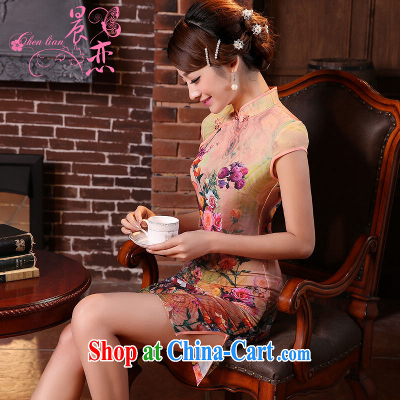 Morning, dresses new 2015 summer retro short improved stylish sauna silk silk Chinese qipao toner orange orange M