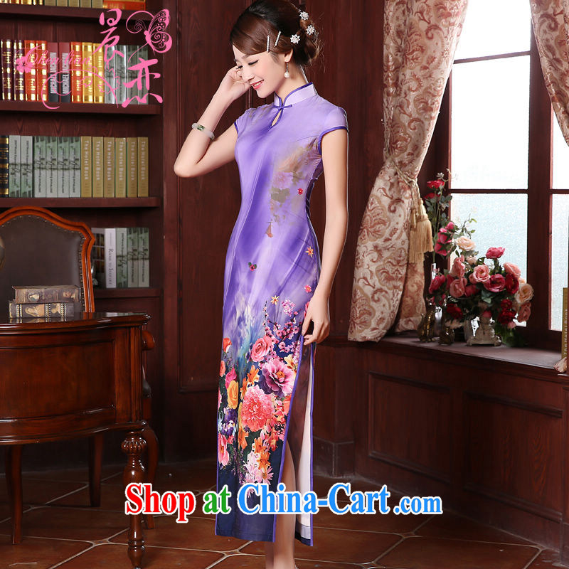 Morning dresses, new summer retro long improved stylish sauna silk silk Chinese qipao dress pink Purple Purple M