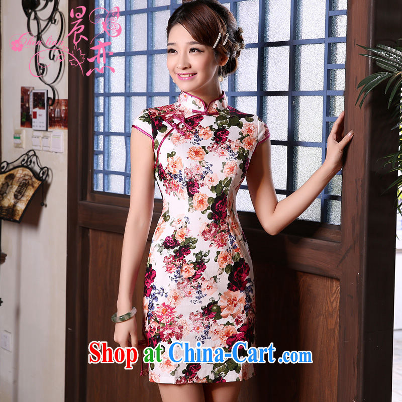 Morning love 2015 summer new stylish improved retro short cheongsam dress Chinese daily stunning rose floral XXL