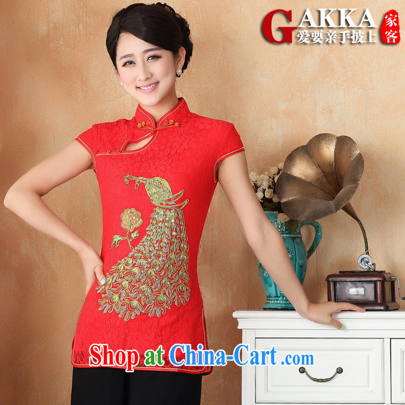 2015 spring and summer new mom with Chinese style short-sleeved cultivating Chinese improved cheongsam Chinese Antique Ms. improved T-shirt female Red XXL