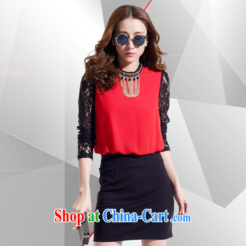 Ya-ting store 2015 spring new and high-end women's clothing name-yuan temperament cultivating long-sleeved lace stitching package and retro dresses female Red L