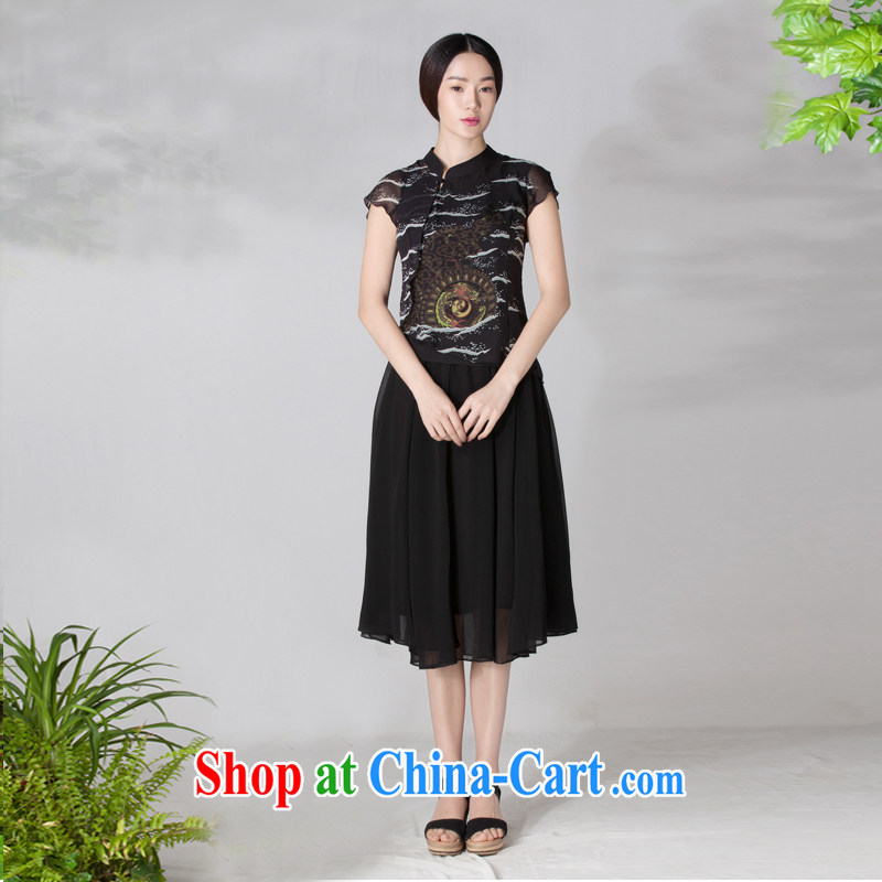 Diane Ying 2015 spring and summer clothes new, long, short-sleeved, dos Santos for Silk Cheongsam PAE 1146 black M