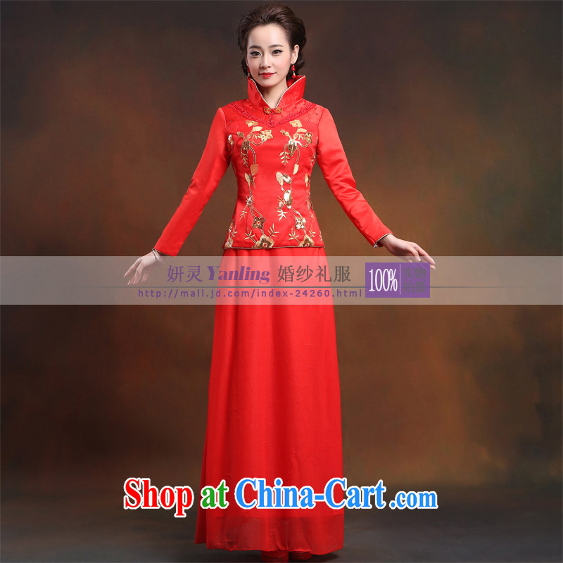 Her spirit_YANLING Sau Wo service 14 new dress Dragon toast use Chinese improved costumes dresses 14,028 red XXXXL