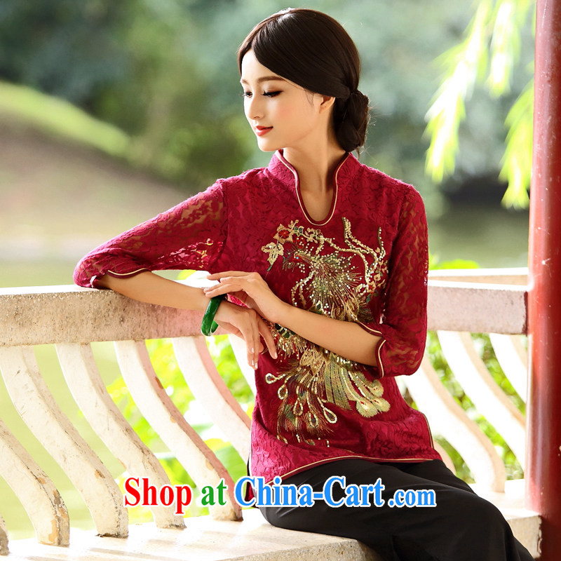 China classic * Phoenix to fly Ms. cuff in Chinese T-shirt Chinese Ethnic Wind improved bows clothes T-shirt spring XXXL Uhlans on, China Classic (HUAZUJINGDIAN), shopping on the Internet