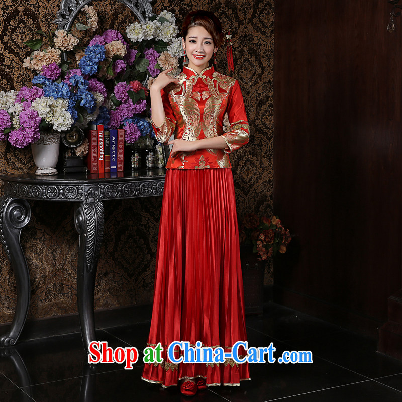 Su Wu edge marriages long cheongsam dress dresses Soo Wo service red long-sleeved toast clothing retro dresses red XL