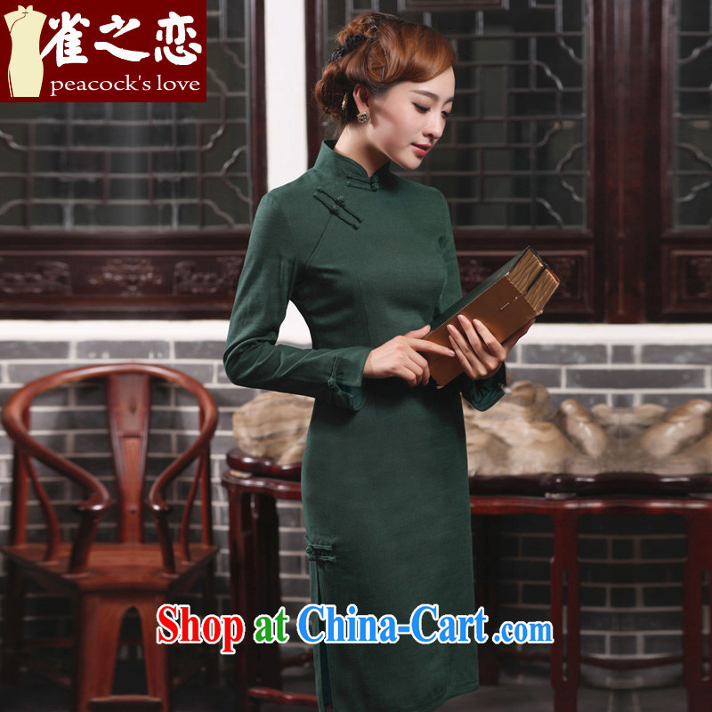 Birds love cream day Xiao 2015 spring new daily fashion improved long cotton the cheongsam girls dark XXL