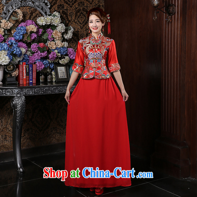 Su Wu edge long-sleeved winter bride toast wedding dress red dresses bridal load use phoenix Sau wo service outfit red XL