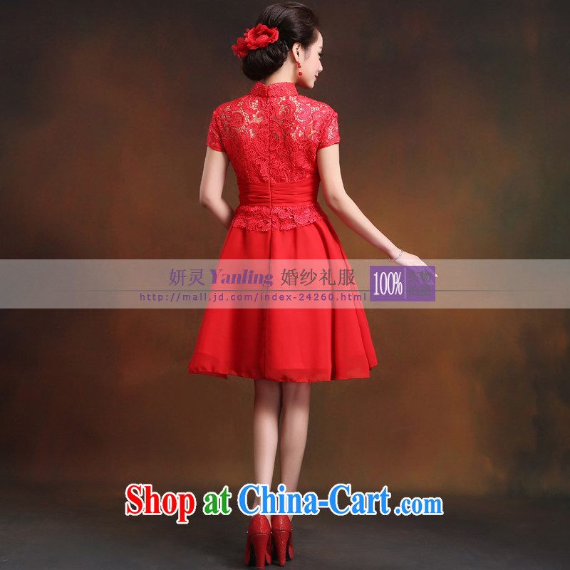 Her spirit_YANLING wedding dresses spring and summer, new improved Stylish retro Chinese short bows serving 14,016 red XXXXL