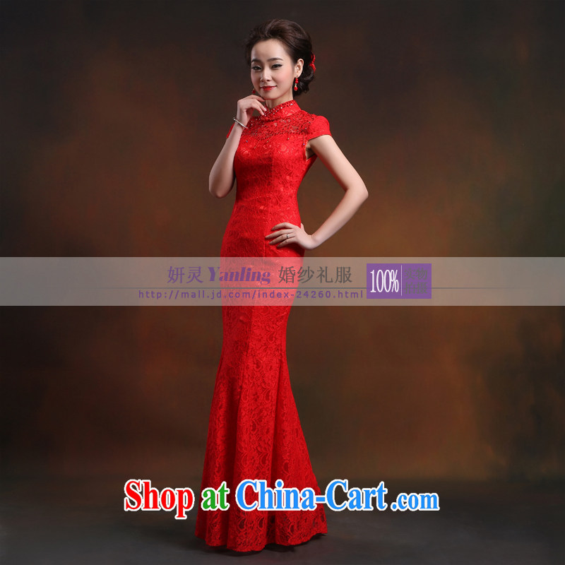 Her spirit_YANLING improved lace BEAUTY package shoulder-length, retro-style Chinese bows outfit 14,021 red custom