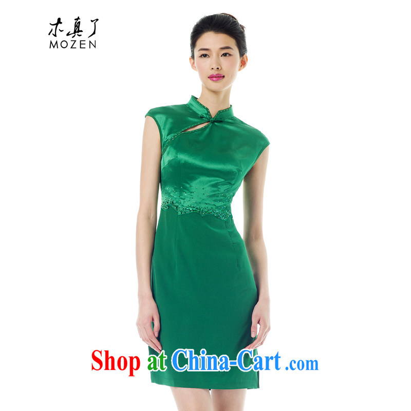 Wood is really the Chinese 2015 spring and summer new, for cultivating cheongsam dress stitching and stylish dress 42,882 14 dark green XXL A _ _
