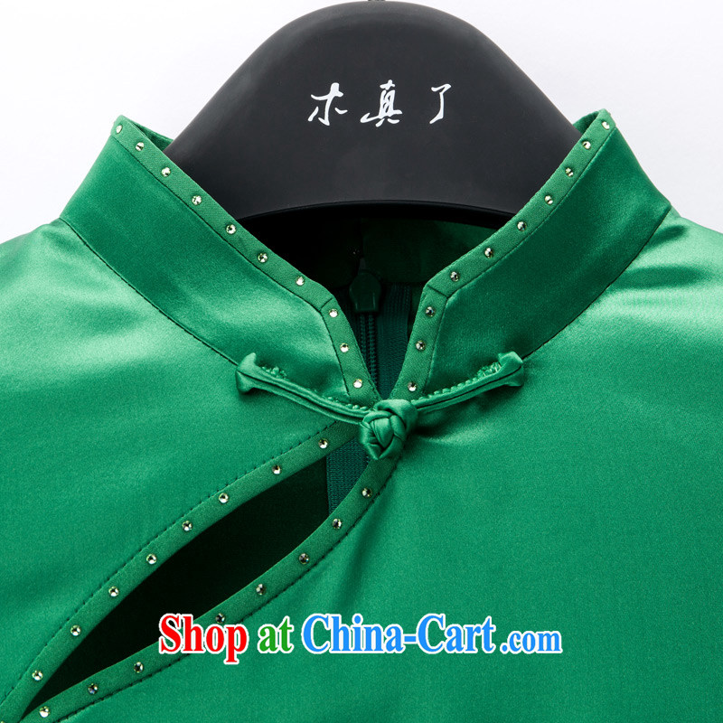 Wood is really the Tang with 2015 spring and summer new, for cultivating cheongsam dress stitching and stylish dress 42,882 14 dark green XXL (A), wood really was, online shopping