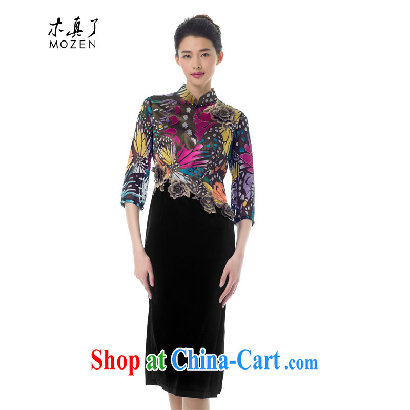Wood is really the Chinese women spring 2015 New Products butterfly flower stitching embroidery cheongsam dress high-end dress 42,939 17 light purple M