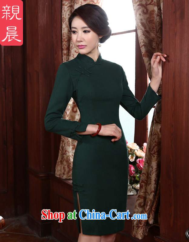 pro-am spring 2015 new daily cultivating short-sleeved cotton strain the retro style improved cheongsam dress green L - waist 78 CM