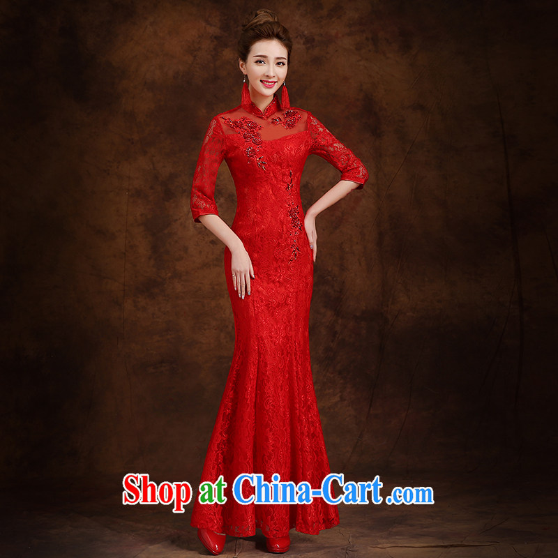 married love toast Service Bridal Fashion 2015 new long-sleeved wedding dresses winter clothes at Merlion dress long red winter female Red XXL
