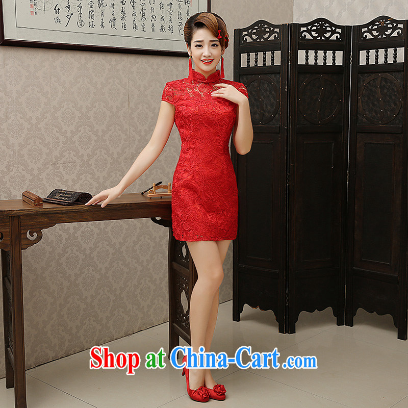 married love toast Service Bridal 2015 new stylish dresses skirt red lace wedding dresses small short marriage dresses winter red XXL