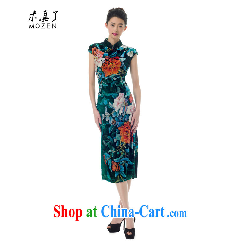 Wood is really a qipao improved retro beauty silk 2015 spring and summer new short-sleeved qipao 21,823 14 dark green XXXL
