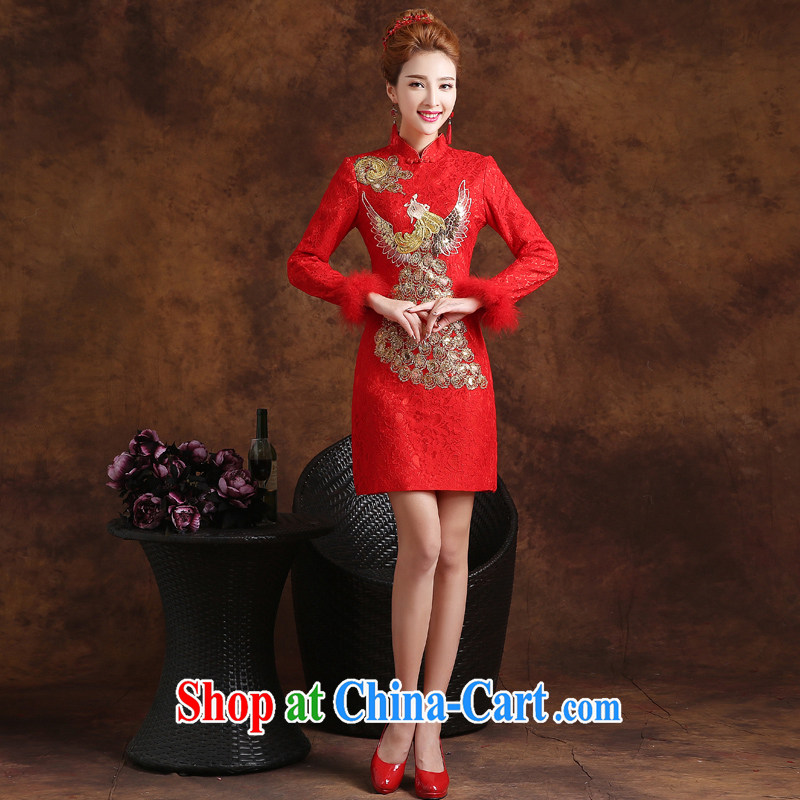 married love dresses bows Service Bridal Fashion 2015 new autumn and winter short-sleeved red, long-sleeved plus Gross marriage dress female Red XXL