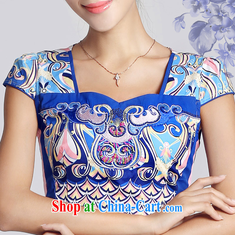And, in accordance with antique Ethnic Wind blue and white porcelain pattern short dresses spring 2015 new daily lady cheongsam dress female LYE 33,301 blue XXL, in accordance with (leyier), online shopping
