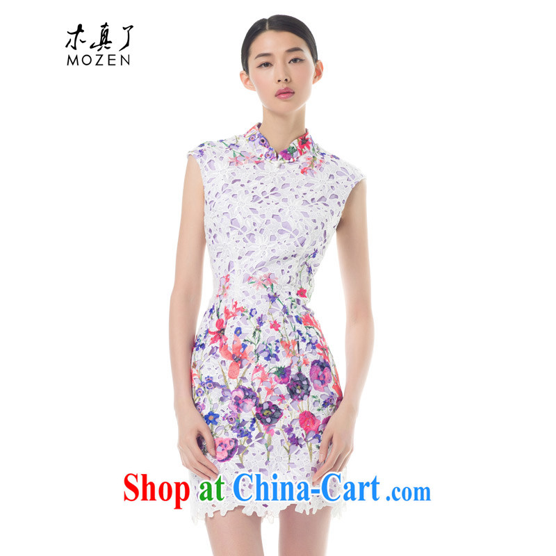 Wood is really the Tang with 2015 spring and summer new languages empty beauty cheongsam dress stamp stylish dresses 42,772 02 pure white XXL B ( )