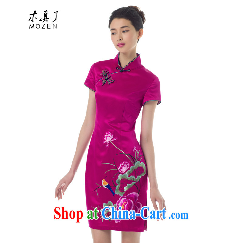 Wood is really the Chinese Spring 2015 the new Chinese beauty embroidery cheongsam dress short-sleeved gown fashion dresses 53,309 18 deep pink XL